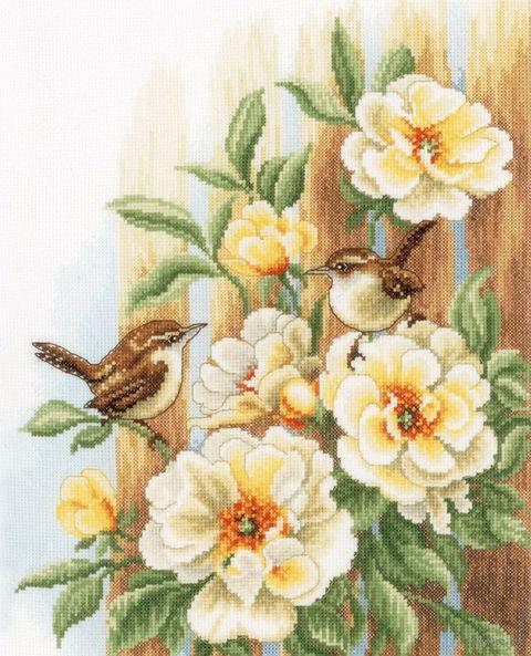 """Вышивка крестом """"Птицы на розах"""" (270х330 мм) — фото, картинка"""