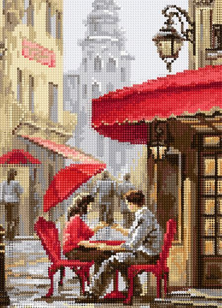 """Алмазная вышивка-мозаика """"Влюблённые у кафе"""" (360х260 мм) — фото, картинка"""