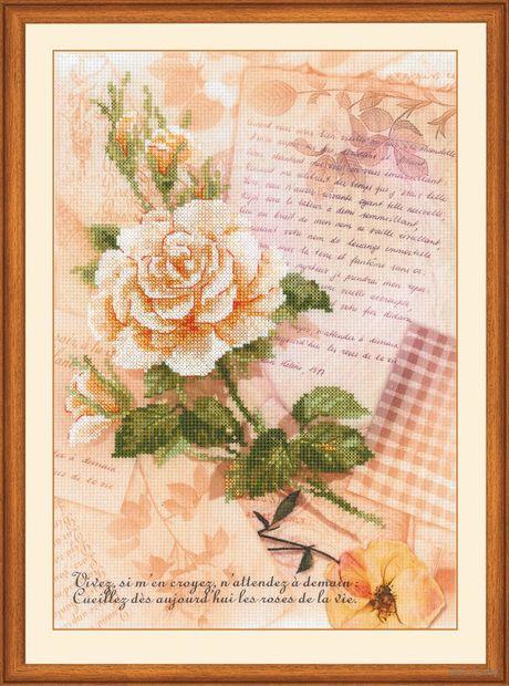 "Вышивка крестом ""Письма о любви. Роза"" (210х300 мм) — фото, картинка"