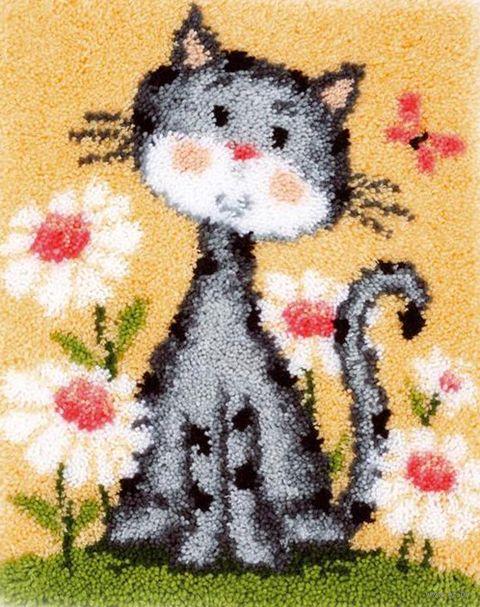"""Вышивка в ковровой технике """"Коврик. Кошка в цветах"""" (430х530 мм) — фото, картинка"""