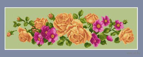 """Алмазная вышивка-мозаика """"Кремовая кустовая роза"""" (900х350 мм) — фото, картинка"""