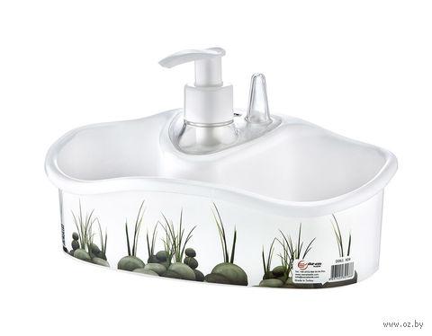 Дозатор для жидкого мыла пластмассовый с подставкой для мочалки (20*9*6 см; арт. D061-X04)
