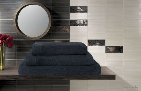 Полотенце махровое (50x100 см; черное) — фото, картинка