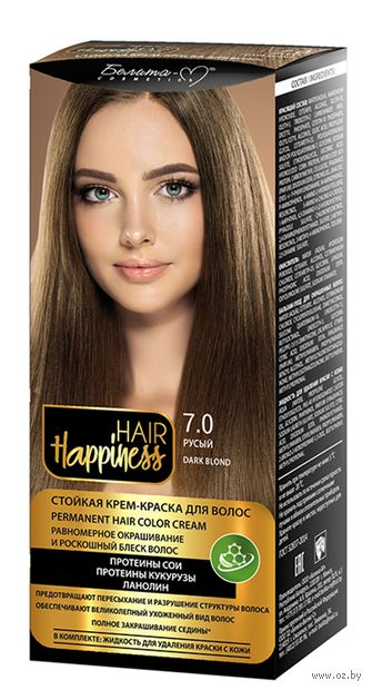 "Крем-краска для волос ""Hair Happiness"" тон: 7.0, русый — фото, картинка"