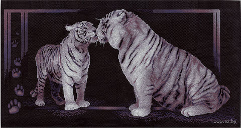 """Вышивка крестом """"Тигриная любовь"""" (585х305 мм) — фото, картинка"""