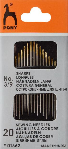 Иглы для шитья №3-9 (20 шт.; арт. 01362) — фото, картинка