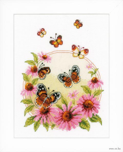 """Вышивка крестом """"Эхинацея и бабочки"""" (200х260 мм) — фото, картинка"""