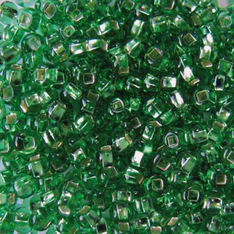Бисер прозрачный с серебристым центром №57100 (светло-зеленый)