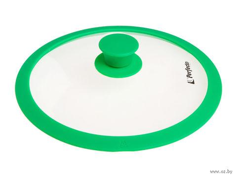 Крышка стеклянная с силиконовым ободом (28 см; темно-зеленый) — фото, картинка