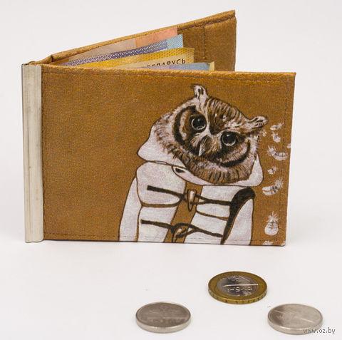 "Зажим для денег с монетницей ""Сова"" — фото, картинка"