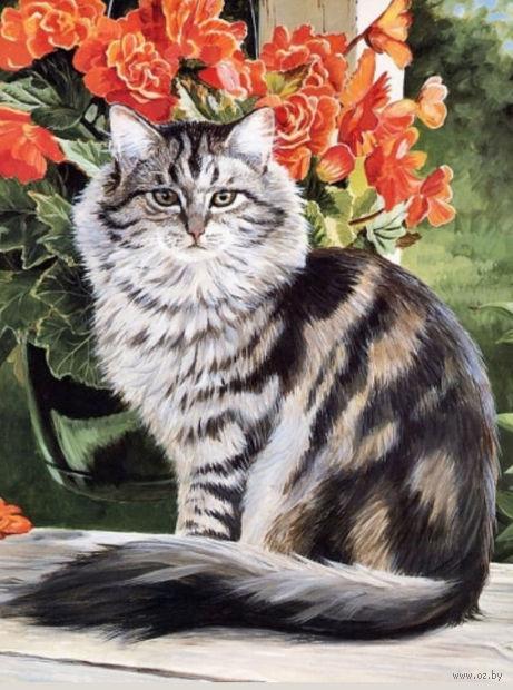 """Алмазная вышивка-мозаика """"Кот в саду"""" (410х540 мм) — фото, картинка"""