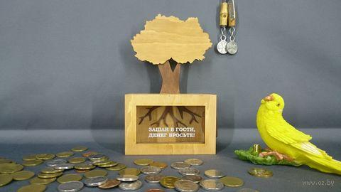 """Копилка """"Дерево. Зашли в гости, денег бросьте"""" (арт. S00047) — фото, картинка"""