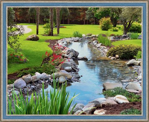 """Алмазная вышивка-мозаика """"Ручей в саду"""" (500х400 мм) — фото, картинка"""