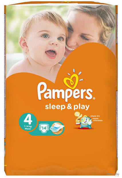 """Подгузники """"Pampers Sleep&Play Chamomile Maxi"""" (7-14 кг, 14 шт, арт. 0001010707)"""