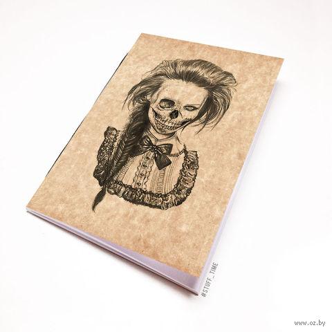 """Блокнот крафт """"Девушка-скелет"""" А7 (750)"""