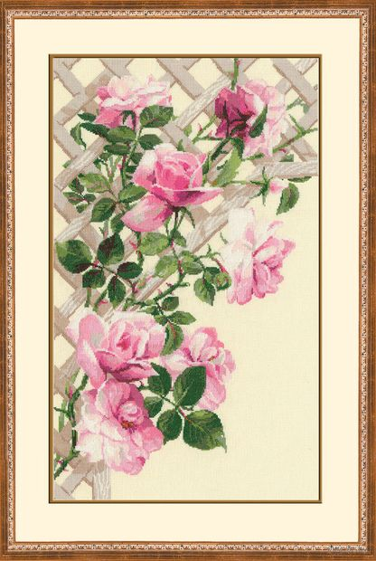 """Вышивка крестом """"Розовые розы"""" (350х550 мм) — фото, картинка"""