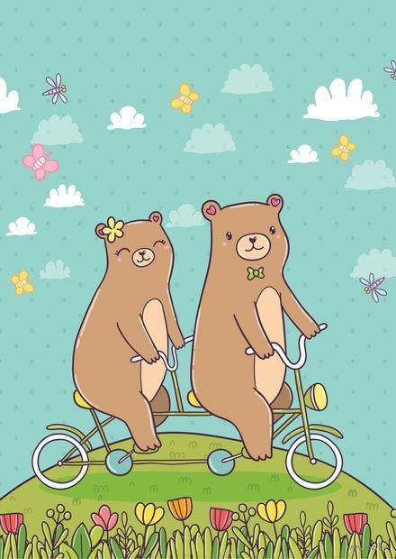 "Открытка ""Мишки на велосипеде"" — фото, картинка"