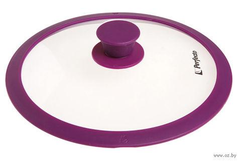 Крышка стеклянная с силиконовым ободом (28 см; фиолетовая) — фото, картинка