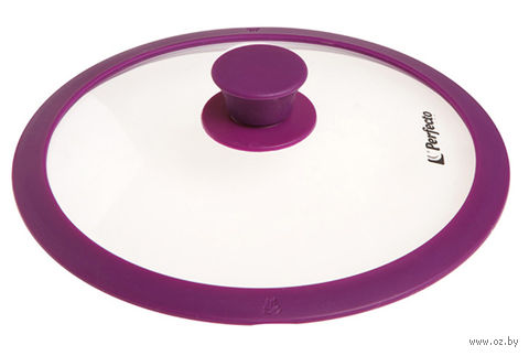 Крышка стеклянная с силиконовым ободом (28 см; фиолетовый) — фото, картинка
