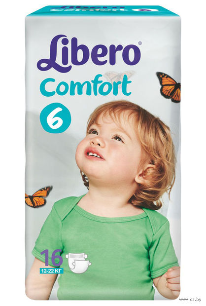 """Подгузники для детей Libero Comfort """"Extra Large XL 6"""" (11-22 кг.; 16 шт)"""