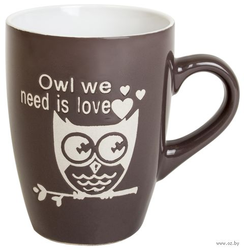 """Кружка """"Beatles-Owl"""" (темно-серая) — фото, картинка"""