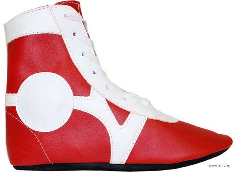 Обувь для самбо SM-0102 (р. 45; кожа; красная) — фото, картинка