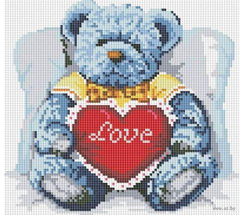 "Алмазная вышивка-мозаика ""Медвежонок с сердцем"" (300х300 мм; арт. 251-ST-S) — фото, картинка"
