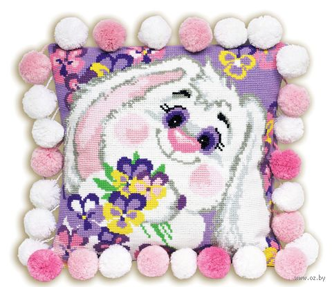 "Вышивка крестом ""Подушка. Кролик"" (300х300 мм) — фото, картинка"