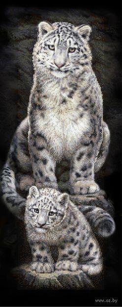 "Алмазная вышивка-мозаика ""Снежные барсы"" (900х350 мм) — фото, картинка"