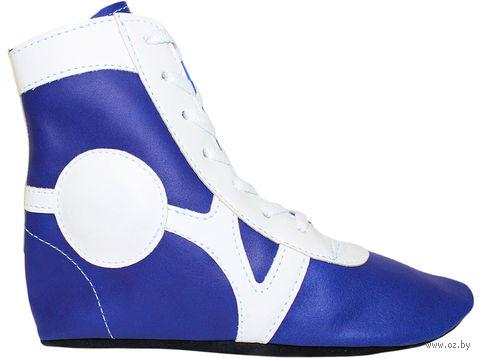 Обувь для самбо SM-0102 (р. 33; кожа; синяя) — фото, картинка