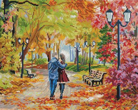 "Алмазная вышивка-мозаика ""Осенний парк, скамейка, двое"" (400х500 мм) — фото, картинка"