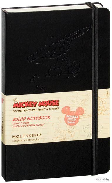 """Записная книжка Молескин """"Mickey Mouse"""" в линейку (большая; твердая черная обложка)"""