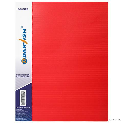"""Папка """"Darvish"""" с прозрачными файлами DV05-60Р (А4; 60 листов; цвет: красный)"""