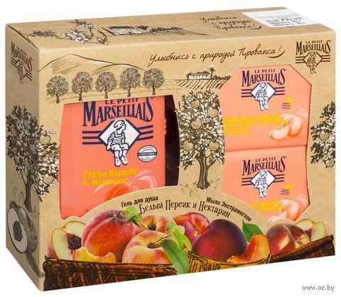 """Подарочный набор """"Белый персик и нектарин"""" (гель, 2 мыла) — фото, картинка"""