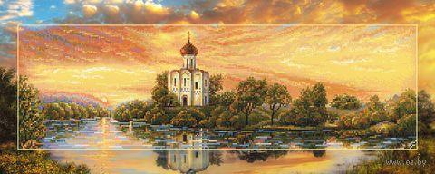 "Алмазная вышивка-мозаика ""Церковь Покрова на закате"" (900х350 мм) — фото, картинка"