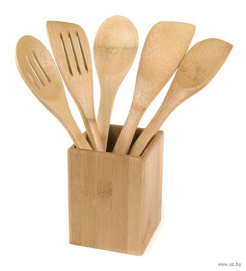 Набор кухонных инструментов бамбуковых на подставке (5 предметов; арт. BB101148) — фото, картинка