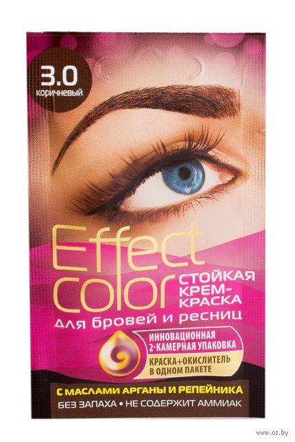 """Крем-краска для бровей и ресниц """"Effect color"""" тон: 3.0, коричневый — фото, картинка"""