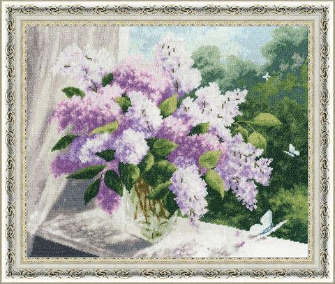 "Вышивка крестом ""Сиреневая весна"" (305х379 мм) — фото, картинка"