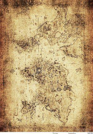 """Бумага для декупажа рисовая """"Старинная карта мира №4"""" (290х210 мм)"""