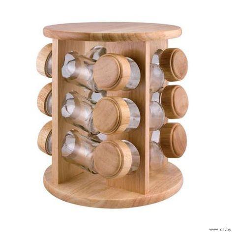 Набор банок стеклянных для сыпучих продуктов на деревянной подставке (12 шт. по 100 мл)
