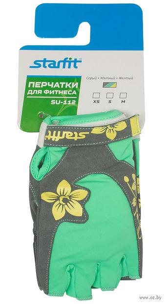 Перчатки для фитнеса SU-112 (S; серые/мятные/жёлтые) — фото, картинка