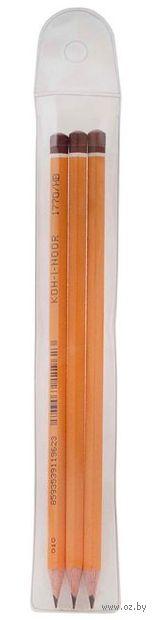 Набор карандашей чернографитных (3 шт.; Н, НВ, В)