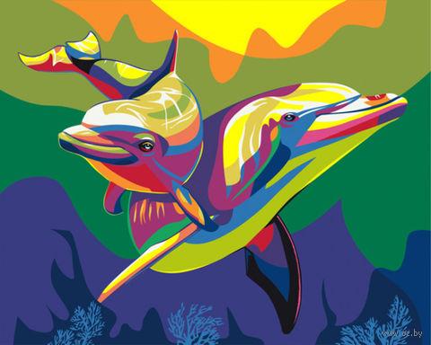 """Картина по номерам """"Радужные дельфины"""" (400х500 мм) — фото, картинка"""