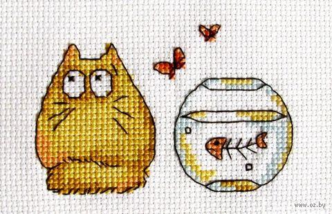 """Вышивка крестом """"Жёлтый кот с аквариумом"""" (110x110 мм) — фото, картинка"""