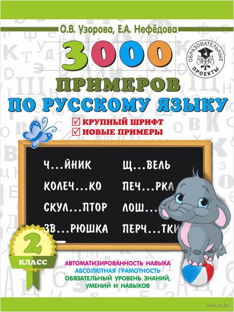 3000 примеров по русскому языку. Крупный шрифт. Новые примеры. 2 класс — фото, картинка