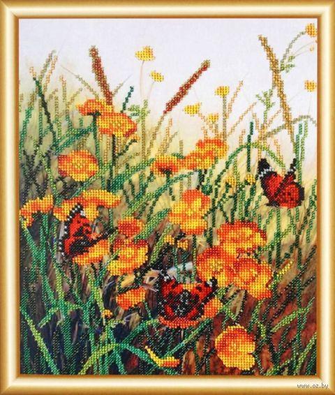 """Вышивка бисером """"Бабочки на полевых цветах"""" (250х310 мм) — фото, картинка"""