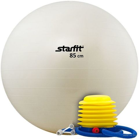 Мяч гимнастический GB-102 85 см (с насосом; белый) — фото, картинка