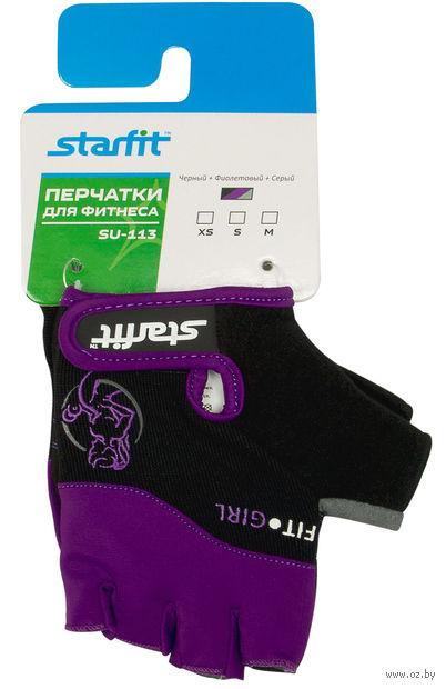 Перчатки для фитнеса SU-113 (M; чёрные/фиолетовые/серые) — фото, картинка