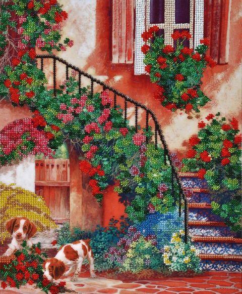 """Вышивка бисером """"Цветочный дворик"""" (300х360 мм) — фото, картинка"""