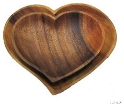 """Блюдо деревянное """"С любовью"""" (300х230х25 мм) — фото, картинка"""